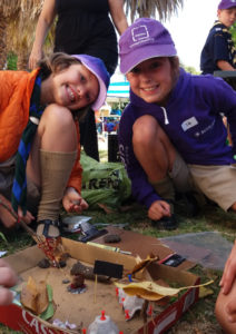 The cubs build a diorama of the Brownsea Island Scout Camp